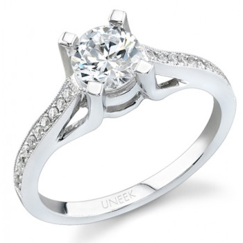 Uneek 18K White Gold Round Diamond Engagement Ring SW122