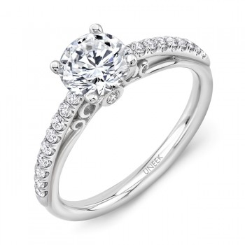 """Naiade"" Vintage-Inspired Round Diamond Engagement Ring from Uneek"