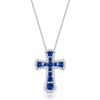 Uneek Sapphire-and-Diamond Cross Pendant, White Gold