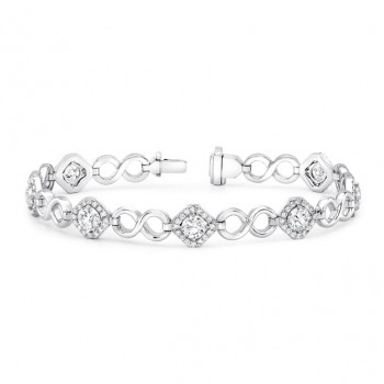 Uneek Round Diamond Bracelet with Infinity-Style High Polish Links