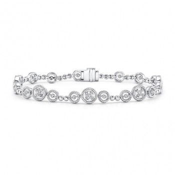 Uneek Mixed-Size Round Diamond Bracelet with Rope Milgrain Floating Halo Details, White Gold