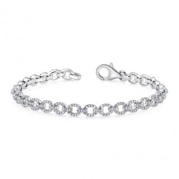 Uneek Pavé Chain Link Bracelet with Ovoid Links, 14K White Gold