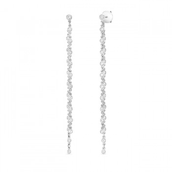 Uneek Cascade Collection Threader-Illusion Diamonds-by-the-Yard Dangle Earrings, 18K White Gold