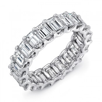 Emerald Cut Diamond Eternity Band, in Platinum