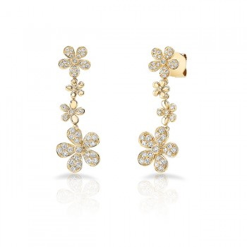 Uneek Cascade Collection Petite Floral Drop Earrings, 18K Yellow Gold