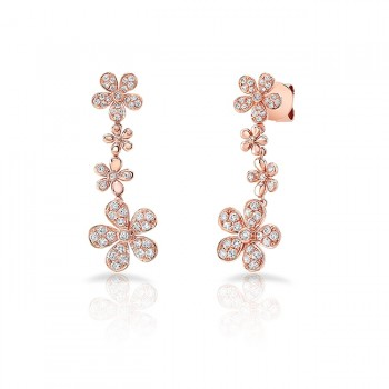 Uneek Cascade Collection Petite Floral Drop Earrings, 18K Rose Gold