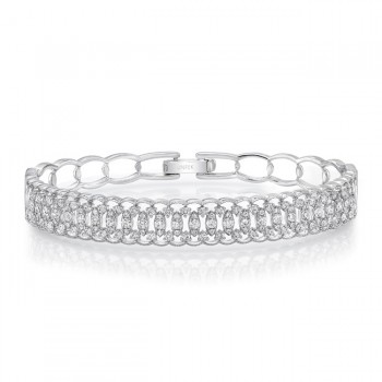 "Uneek ""Broderie Anglaise"" Open Lace Diamond Bangle Bracelet in 18K White Gold"
