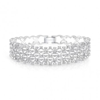 "Uneek ""Point de France"" Open Lace Diamond Bangle Bracelet, 18K White Gold"