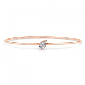 "Uneek ""Whittier"" Skinny Bangle with Tilted Teardrop-Shaped Clusters of Diamonds, Rose Gold"