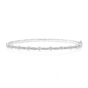 "Uneek ""Santa Monica"" Stackable Diamond Bangle, White Gold version"