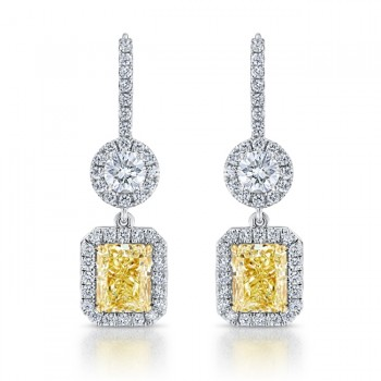 Uneek Radiant Fancy Yellow Diamond Dangle Earrings with Accent Round Diamonds, 18K Gold