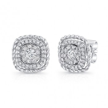 Uneek Convertible Diamond Earrings in 14K White Gold