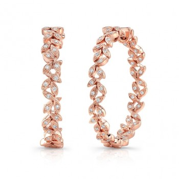 "Uneek ""Vine"" Inside-Out Diamond Hoop Earrings, Rose Gold version"