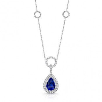 Uneek Pear-Shaped Blue Sapphire Pendant Necklace with Diamond Double Halo and Pave Circle Stations
