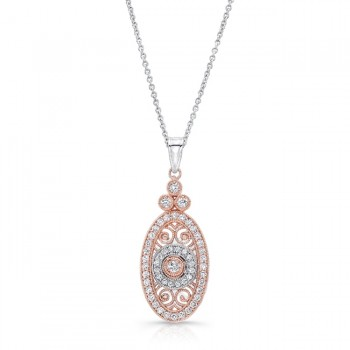 Uneek Vintage-Inspired Elliptical Filigree Diamond Pendant, Two-Tone Gold
