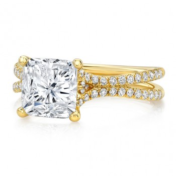 """3-Carat Cushion Diamond Engagement Ring with Pave """"Silhouette"""" Double Shank from Uneek"""