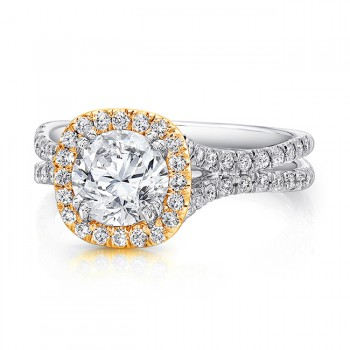 Round Diamond Engagement Ring with Cushion-Shaped Halo in Yellow Gold and Pave Double Shank in White Gold from Uneek