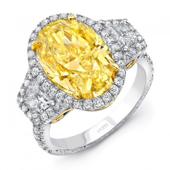Uneek LVS905 Oval Fancy Yellow Diamond Three-Stone Engagement Ring with Filigree and Hand Engraving