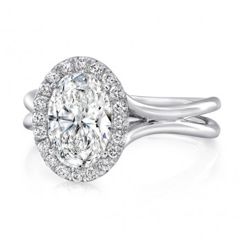 "Oval Diamond Halo Engagement Ring with High Polish ""Silhouette"" Double Shank from Uneek"