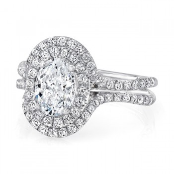 Oval Diamond Engagement Ring with Staggered Double Halo and Pave Double Shank from Uneek