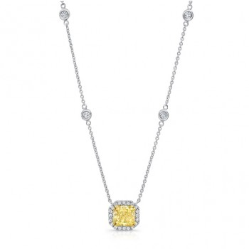 Uneek Radiant-Cut Fancy Yellow Diamond Pendant with Halo, 18K Gold