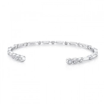 "Uneek ""Normandie"" Open Diamond Bangle, 14K White Gold"