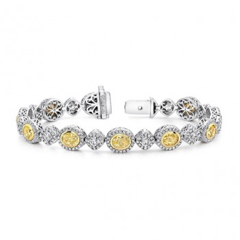 Uneek Oval Yellow Diamond Bracelet with Tilted Cushion Halo Links