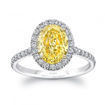Uneek Oval Fancy Yellow Diamond Halo Ring, Platinum & 18K Yellow Gold