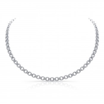 Uneek Diamond Pave Link Necklace, 14K White Gold