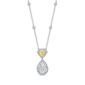 Uneek Pear-Shaped Diamond Pendant with Shield-Cut Fancy Yellow Diamond Accent, 18K Gold