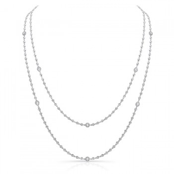 Uneek Diamonds by the Yard Necklace with Pear-Shaped, Oval and Round Rose-Cut Diamonds, 14K White Gold