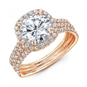 Uneek Round Diamond Engagement Ring with Cushion-Shaped Halo and Pave Triple Shank, 14K Rose Gold