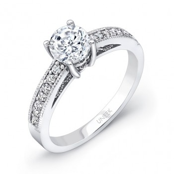 Uneek Round Diamond Engagement Ring with Milgrain and Filigree Detail, 14K White Gold