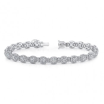 Uneek Round Diamond Bracelet with Cushion-Shaped Halos, 18K White Gold