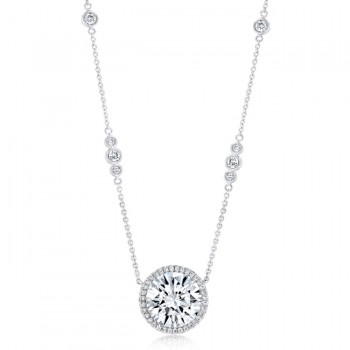 Uneek Round Diamond Pendant with Halo and Round Diamond Bezel Trios on Chain, White Gold