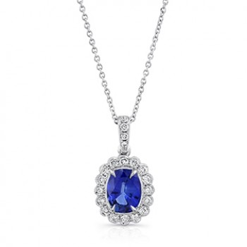 Uneek Oval Blue Sapphire Pendant with Scallop-Style Diamond Halo, 18K White Gold
