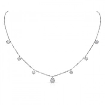 Uneek Seven-Cluster Drop Necklace, 18K White Gold