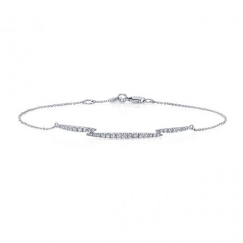 Uneek Diamond Bracelet with Slender Navette Clusters, 14K White Gold