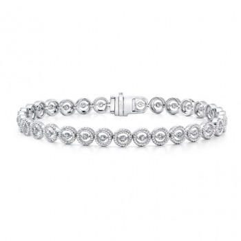 Uneek Round Diamond Bracelet with Rope Milgrain Halo Details, White Gold