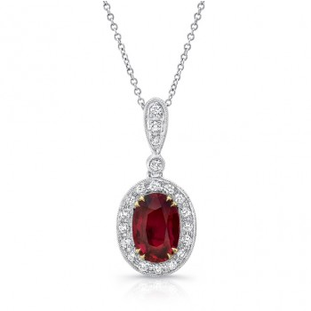 Uneek Ruby Pendant with Diamond Halo, 18K White and Yellow Gold